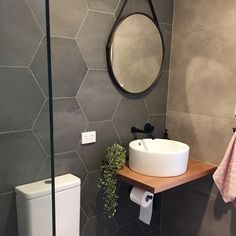 super Ideas for bath room design small grey hexagon tiles bath design 358247345361322610 Hexagon Tile Bathroom, Hexagon Tiles, White Bathroom, Black Bathrooms, Bathroom Mirrors, Master Bathrooms, Bathroom Cabinets, Luxury Bathrooms, Modern Bathrooms