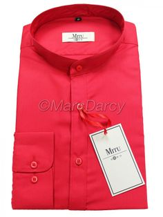 MENS PLAIN RED GRANDAD COLLAR SHIRT (GB3)