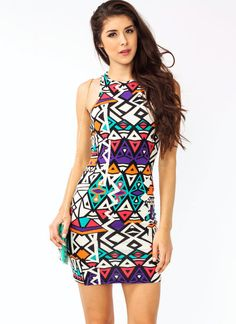 Tribal Prints Dresses Women's Dresses - Beauty tips and tricks with Care n style Tribal Print Dress, Tribal Prints, Tight Dresses, Casual Dresses, Women's Dresses, Tribal Looks, Budget Fashion, Fashion Prints, New Dress
