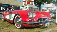 Chevrolet Chevy Corvette Vette C1 Oldschool Oldtimer Classic Car Rock'n'Roll 50s 60s Rockabilly Elvis low lowered V8 US Car USA Red Wheel White wall chrome caps Balingen Oldstyler