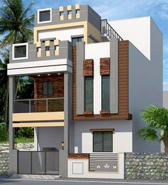 Small house exterior design: pin by sivarama krishna on building photos in 2 Storey House Design, Bungalow House Design, House Front Design, Small House Design, Modern Exterior House Designs, Modern House Design, Exterior Design, Stucco Exterior, Modern Houses