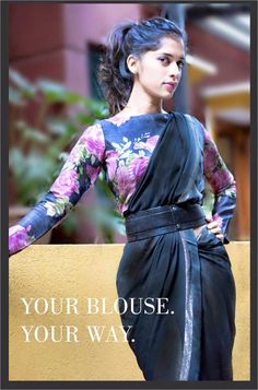 Your blouse I Your way. Floral print blouse with a doti saree and belt.