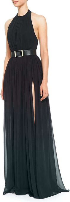 Elie Saab Halter-Top Gown, Deep Green