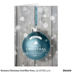 Business Christmas Card Blue Ornament Wood