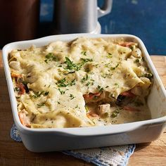 The chicken, vegetables and gravy are as rib-stickingly good as you remember, or maybe even better, tucked up cozily under a blanket of dill Havarti. Chicken Lasagna, Chicken Casserole, Hotdish Recipes, Chicken Chow Mein, Chicken Recipes, Turkey Recipes, Main Dishes, Side Dishes, Macaroni And Cheese