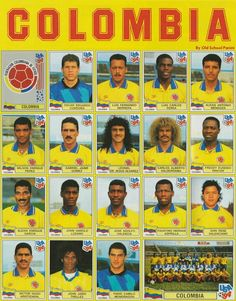 Colombia team stickers for the 1994 World Cup Finals.
