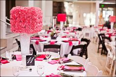 black and white stripe and pink reception | ... reception_centerpiece_hot_pink_white_black_chairs_square_floral_white