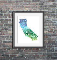 California typography map art print 11x14 customizable by CAPow
