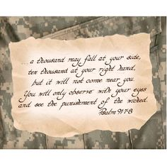 PSALM 91:7-8 --- 8 X 10 Hand Written Calligraphy on Digital Camouflage Fatigues Photo Art Print (Brown and Tan) on Etsy, $8.00