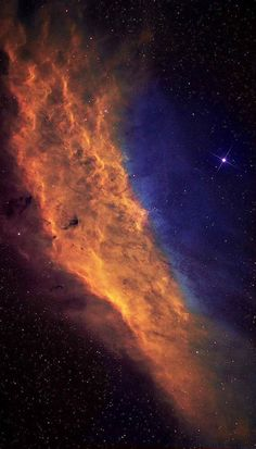 The California Nebula (NGC1499) is an emission nebula located in the constellation Perseus. It is so named because it appears to resemble the outline of the State of California on long exposure photographs. Credit: Azin Dark Skies