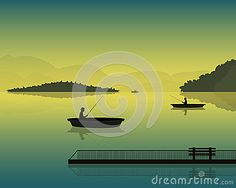 Vector landscape with the silhouette of fishermen in a boat at sunset, mountains and forests
