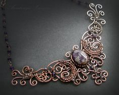handmade: necklaces , pendants technique: wire-wrapping materials: copper,amethyst size:length 40 cm