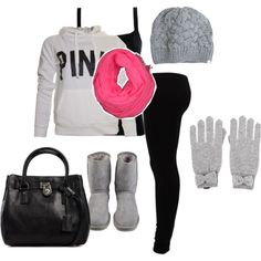 Grey, pink, and black. Love everything about this outfit.