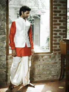 classic bundi, silk dhoti and kurta by Anita Dongre