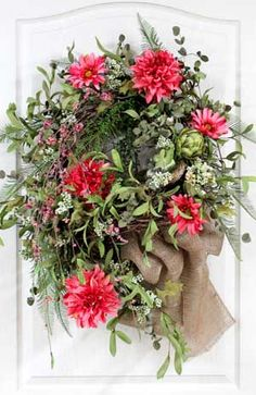 Country Wreath with Wildflowers & Natrual Burlap Bow