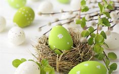Download wallpapers Easter, green easter eggs, willow branch, nest, Happy Easter