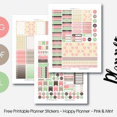 Free Weekly Printable Planner Stickers Set - Pink & Mint - Happy Planner