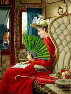 The Indiscretion (1895).Constant Aime Marie Cap (Belgian, 1842-1915).Oil on panel. The scene is inside a stationary train. The elegant lady puts down her newspaper as a gentleman is courting her through a window of the compartment. The lady may be using her fan for a degree of privacy.