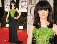 Zooey Deschanel In Prada – 2012 Golden Globe Awards