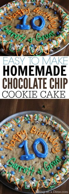 Easy to make Giant Cookie Recipe - Eating on a Dime How to make chocolate chip pizza that tastes amazing! Easy Homemade chocolate chip cookie cake recipe that tastes better than store bought. You will love this delicious giant cookie recipe. Chocolate Chip Pizza, Chocolate Chip Cookie Cake, Homemade Chocolate Chip Cookies, Chocolate Chip Recipes, Giant Chocolate, Chocolate Crinkles, Chocolate Drizzle, Chocolate Cupcakes, Chocolate Party