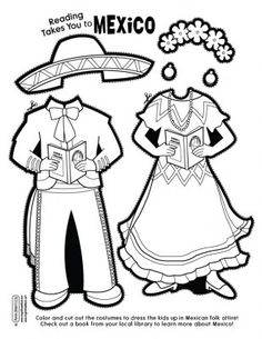 Coloring sheet to celebrate Hispanic heritage month Spanish Lessons, Learning Spanish, Kids Learning, Dual Language Classroom, Spanish Classroom, Mexico Crafts, Spanish Heritage, Spanish English, Paper Doll Template