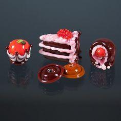 #Glass Lampwork Beads -#Chocolate dipped cherry, #candy, #Chocolate Cake
