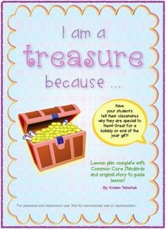 Hi all! This is a great character education activity. Students tell their classmates what makes them special and unique. I enjoy using this activity during the holiday (Christmas, New Year's Eve) season or at the end of the school year as a gift that students can keep for a lifetime.