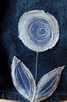 Detailed Stitched Denim Flower