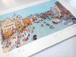 Serigrafía Paseo de Gracia de Barcelona, con la Casa Batlló y Casa Ametller al fondo. Regalo de empresa original y personalizado. #regalodeempresa #regalopersonalizado #regalo de #empresa