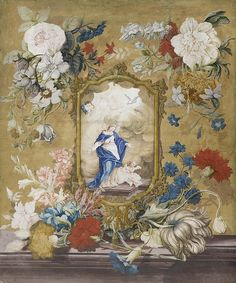 Johann Rudolf Byss — Still Life to a Framed Picture Showing the 'Maria Immaculata', 1710 Acrilic Paintings, Jesus Christ Images, Flower Garlands, Picture Show, Still Life, Catholic, Vintage World Maps, Flower Borders, Frame
