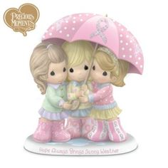 Precious Moments Breast Cancer Support Figurine: Hope Always Brings Sunny Weather