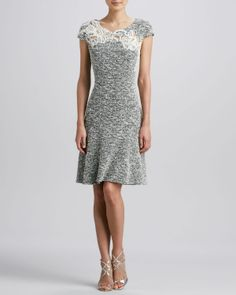 Kay Unger New York Tweed Fit-and-Flare Dress - Neiman Marcus