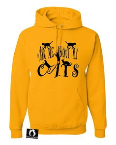 Adult Ask Me About My Cats Funny Cat Lover Sweatshirt Hoodie