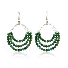 Handmade Chrysocolla Gemstone Beads Triple Teardrop Hoop Dangle Earrings #Handmade #DropDangle