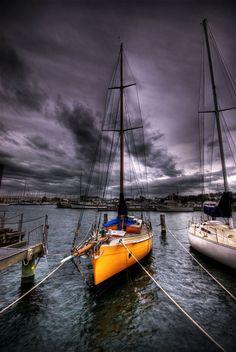 Yellow boat In Storm