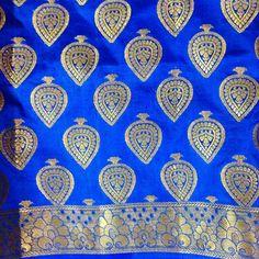 Indian Saree Fabric - Blue brocade silk - Banaras silk saree fabric. $16.00, via Etsy.
