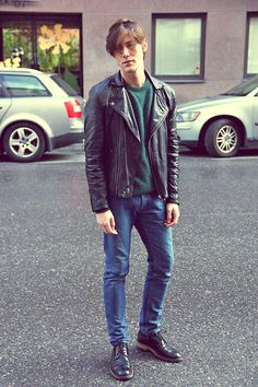 Weekday Leather Jacket, Weekday Angora Knit, Cos Jeans, Acne Studios Shoes