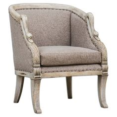 Hand-carved mango wood arm chair with swan neck arms and dark brass nailhead trim (=)