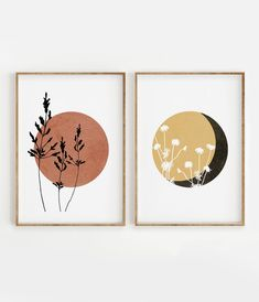 Boho Sun and Moon Print Set of 2 Floral Terracotta Sun Wild Flowers desert moon Abstract Minimal wall art Boho decor Digital Art Moon Print, Diy, Boho Decor, Pin Collection, Terracotta, Decoration, Digital Art, Artsy, Wall Art