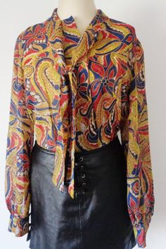 45d68801c8c28e Vtg 60s Sheer PAISLEY Blouse with SECRETARY BOW! Small to Medium