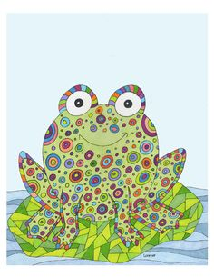Items similar to Frog Child's Room Print. Child or Baby Room Print. on Etsy Frog Wallpaper, Frog Illustration, Funny Frogs, Frog Art, Insect Art, Pet Rocks, Hand Painted Rocks, Frog And Toad, Whimsical Art