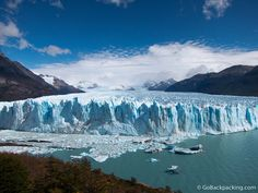 A photo essay featuring large, unaltered images of Patagonia's iconic Perito Moreno Glacier, both from land and boat.