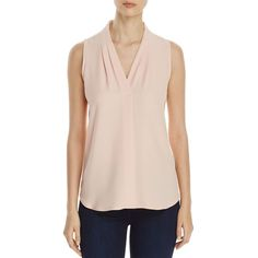 Calvin Klein V-Neck Sleeveless Blouse (79 AUD) ❤ liked on Polyvore featuring tops, blouses, blush, v neck blouse, pink sleeveless top, pink top, pink blouse and calvin klein blouses