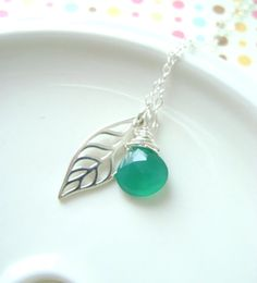 Leaf Necklace Sterling silver and Emerald by RachellesJewelryBox