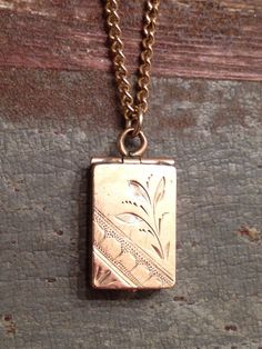 Tiny Antique Victorian Gold Filled Rectangular Locket Necklace, Square Watch Fob Locket,  Hand Etched Rose Gold Baby Locket