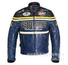 YC Retro Winter Motorcycle Jacket Coat Protective Armor Blue