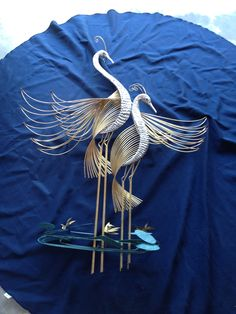 Vintage Signed Large Curtis Jere Pair of Cranes in the Marsh Metal Art Sculpture