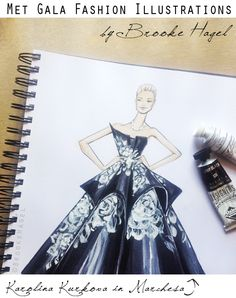 Met Gala Red Carpet Inspired Fashion Illustrations, #KarolinaKurkova in #Marchesa, by Brooke Hagel #FashionIllustration