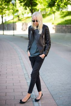 Ellen Claesson Is Wearing A Black Leather Jacket From Lxls, T-Shirt From Acne, Black Faded Jeans From Gina Tricot And Shoes From Zara