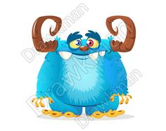 Vector Halloween blue furry monster with big horns. Monster character design clipart illustration Zip archive includes: JPEG VECTOR VECTOR (AI) PNG Purchased files contain no watermarks